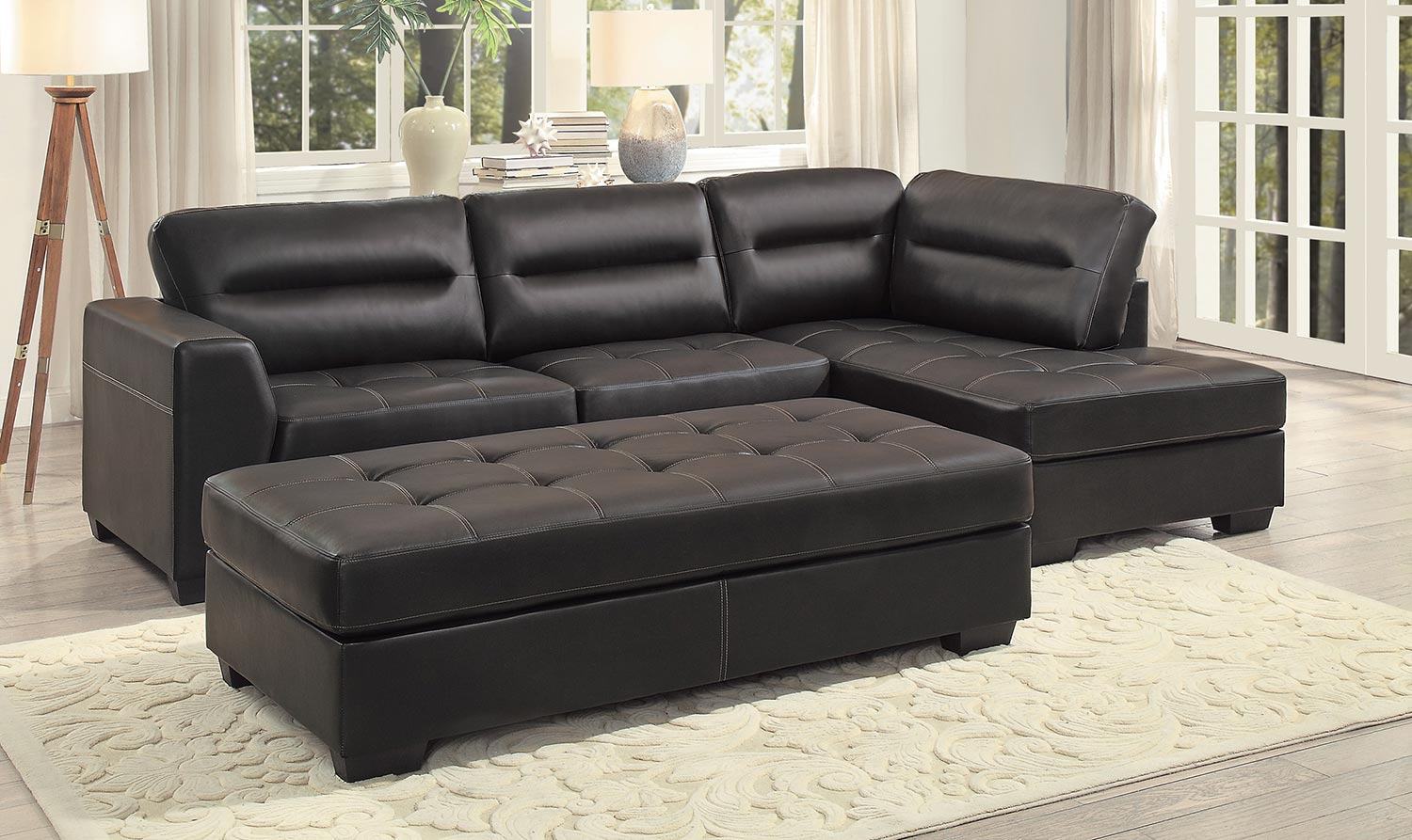 Homelegance Terza Sectional Sofa Set - Dark Brown AirHyde