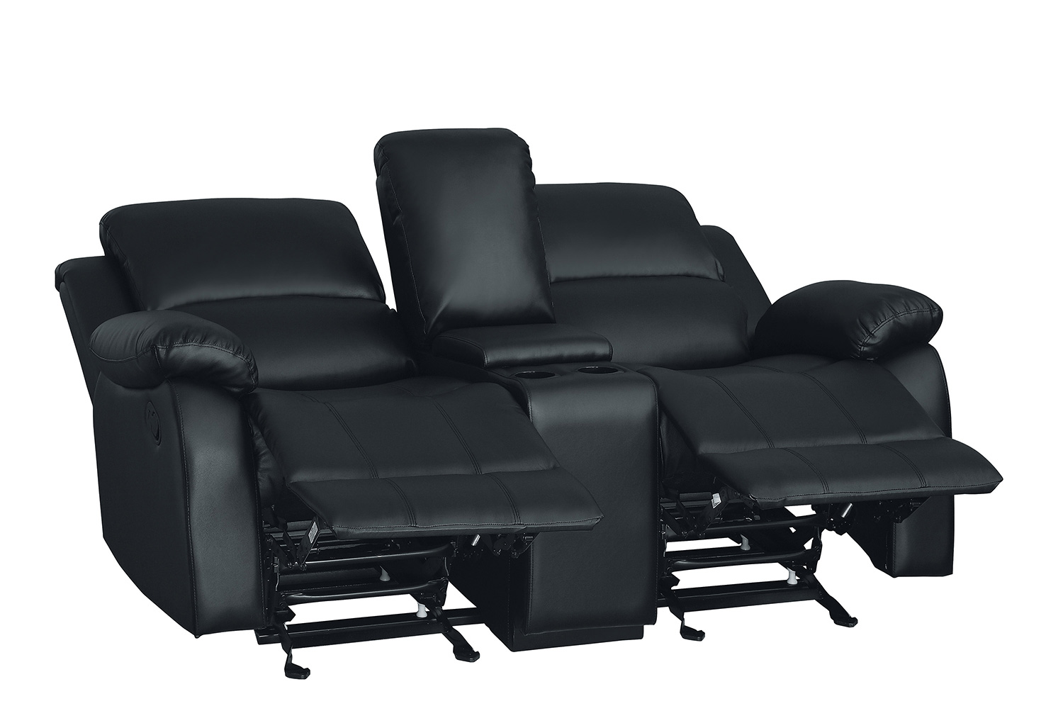 Homelegance Clarkdale Double Glider Reclining Love Seat With Center Console - Black