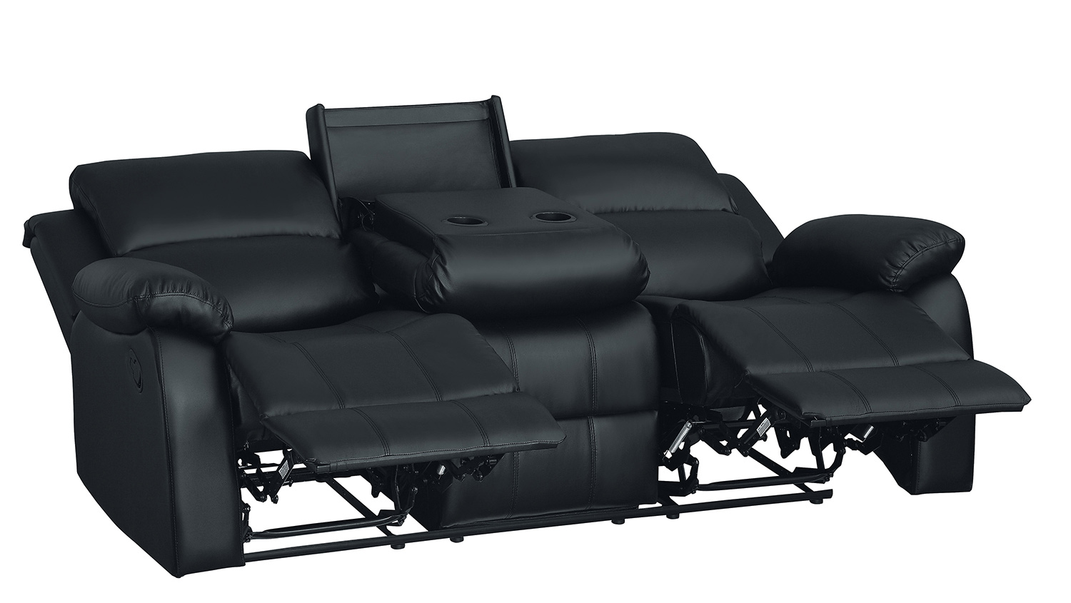 Homelegance Clarkdale Double Reclining Sofa With Center Drop-Down Cup Holders - Black