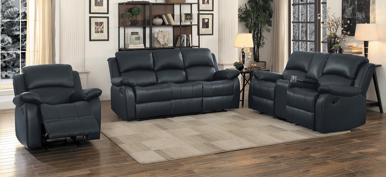 Homelegance Clarkdale Reclining Sofa Set - Black