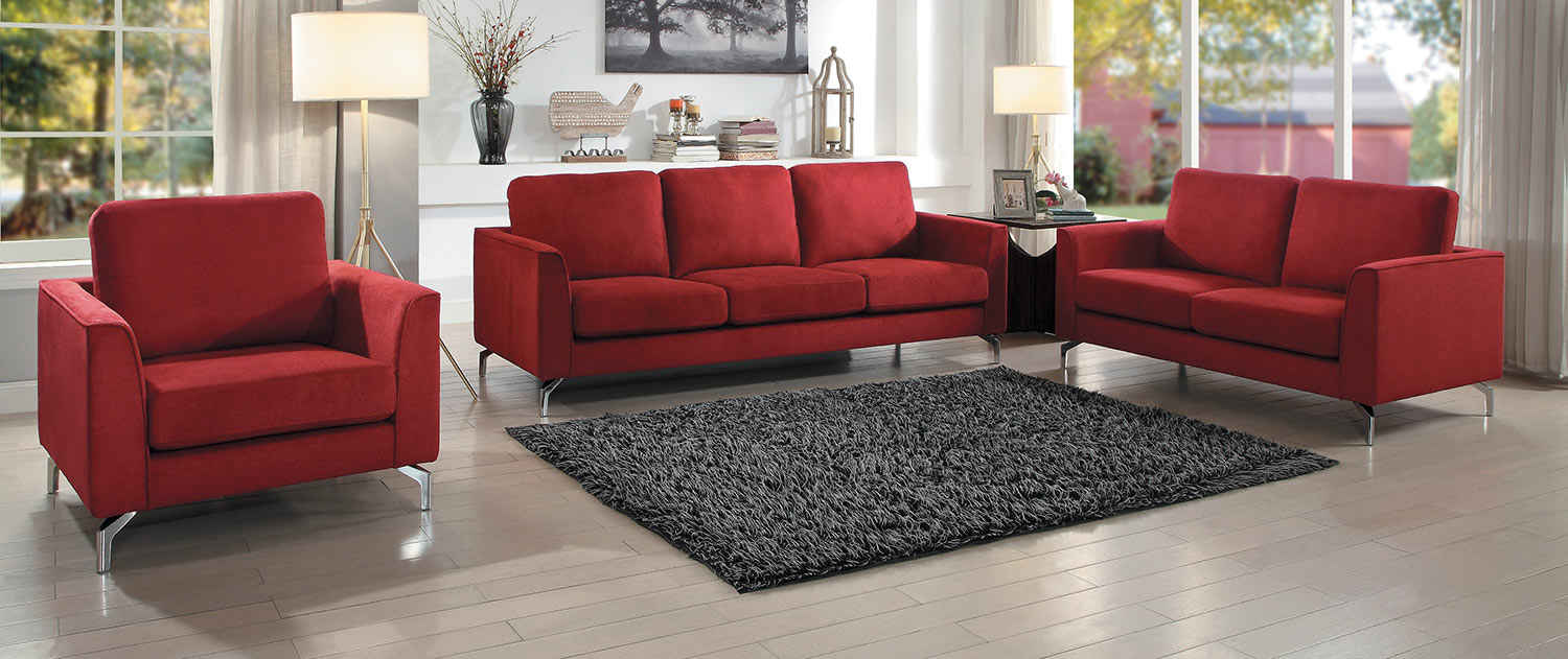 Homelegance Canaan Sofa Set - Red