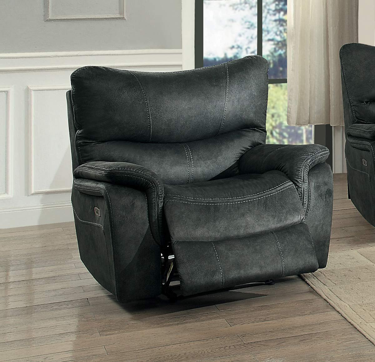 Homelegance Goby Power Reclining Chair With Power Headrest - Dark Gray