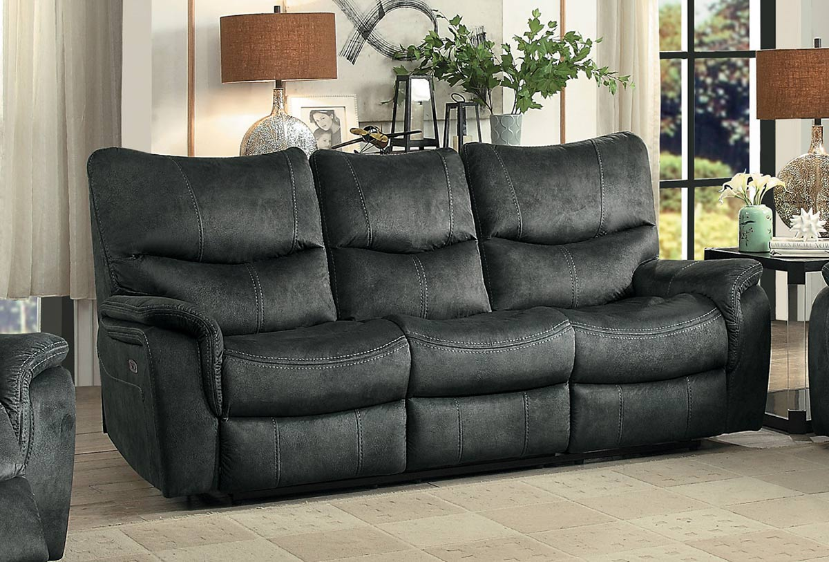 Homelegance Goby Power Double Reclining Sofa With Power Headrests - Dark Gray
