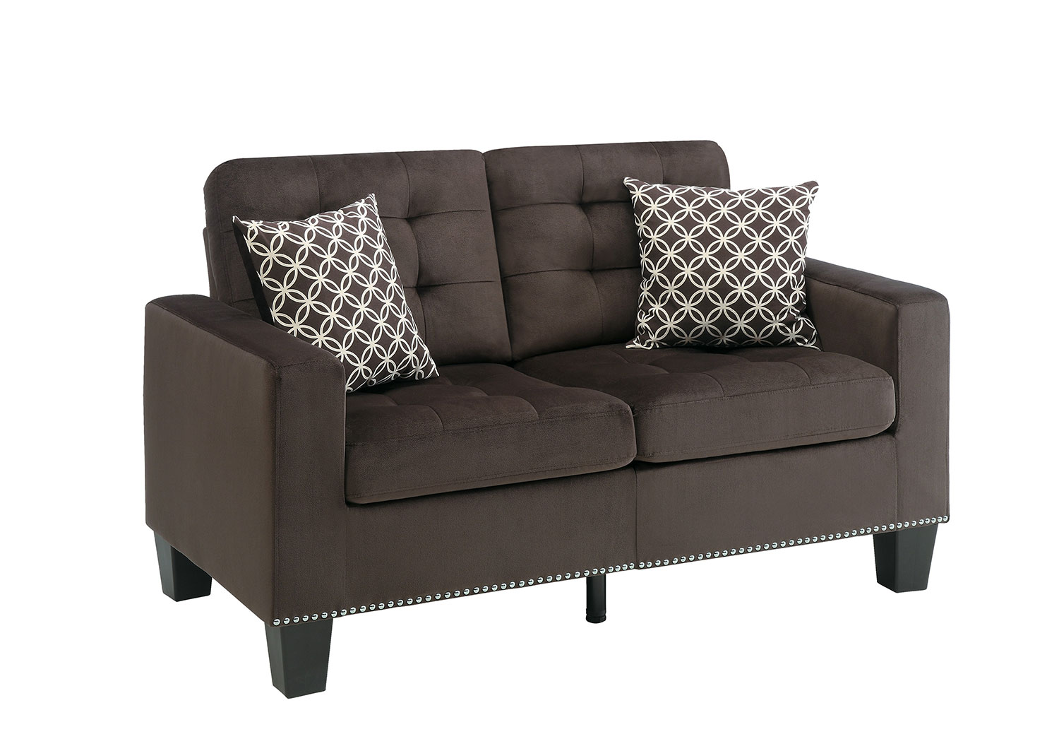 Homelegance Lantana Love Seat - Chocolate and Gray
