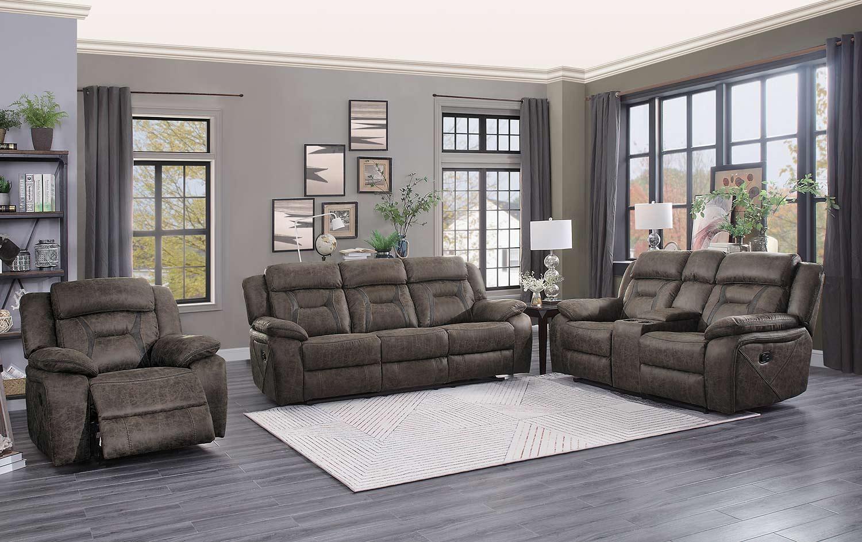 Homelegance Madrona Reclining Sofa Set - Dark brown polished microfiber