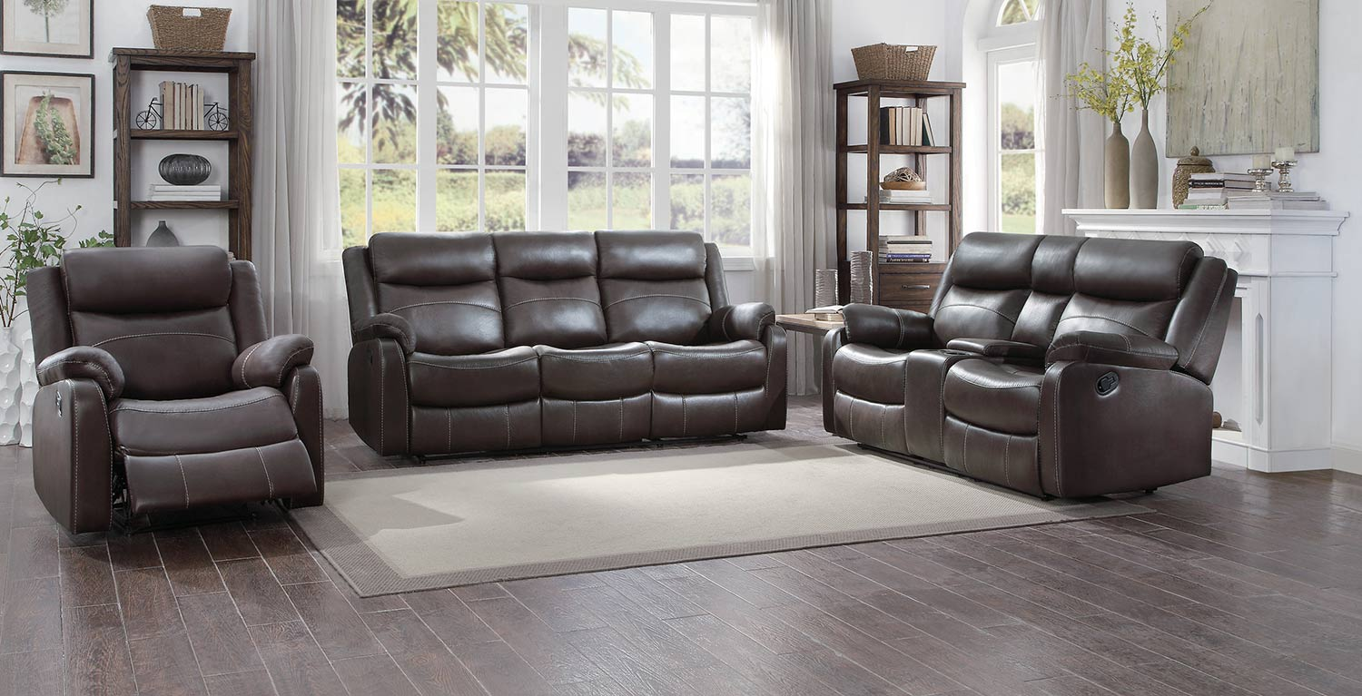 Homelegance Yerba Reclining Sofa Set - Dark Brown