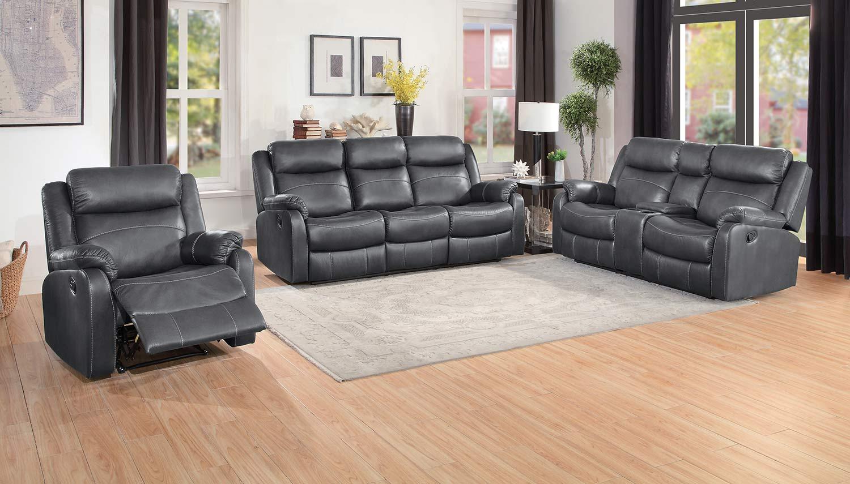 Homelegance Yerba Double Reclining Sofa Set - Dark Gray