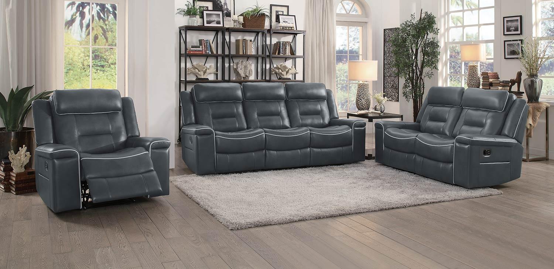 Homelegance Darwan Reclining Sofa Set - Dark Gray