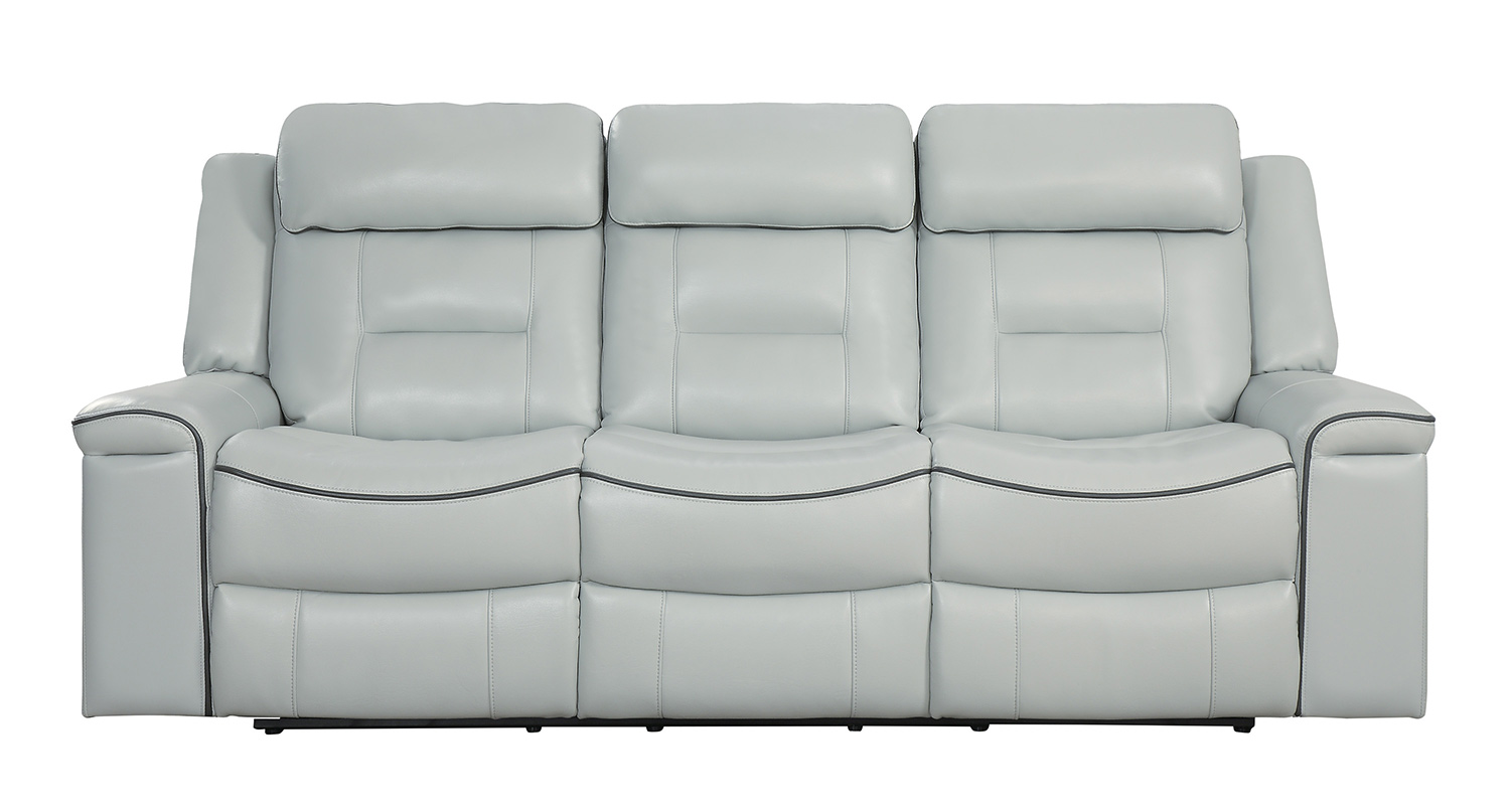 Homelegance Darwan Double Lay Flat Reclining Sofa - Light Gray
