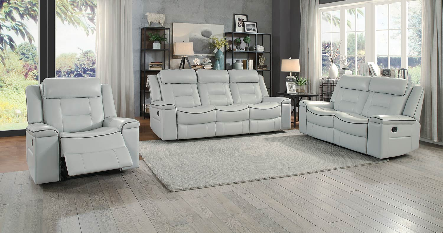 Homelegance Darwan Double Reclining Sofa Set - Light Gray