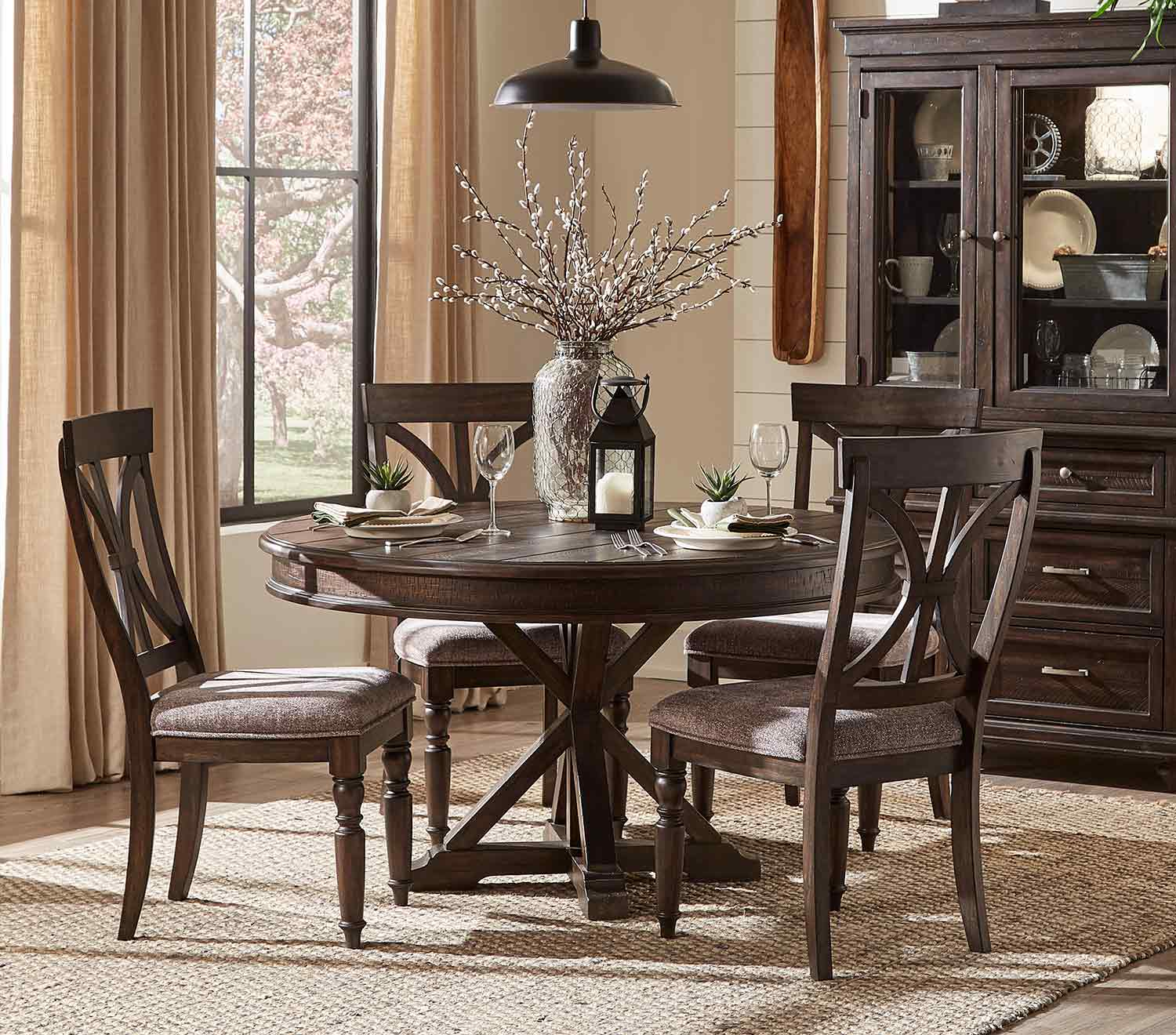 Homelegance Cardano Round Dining Set - Driftwood Charcoal