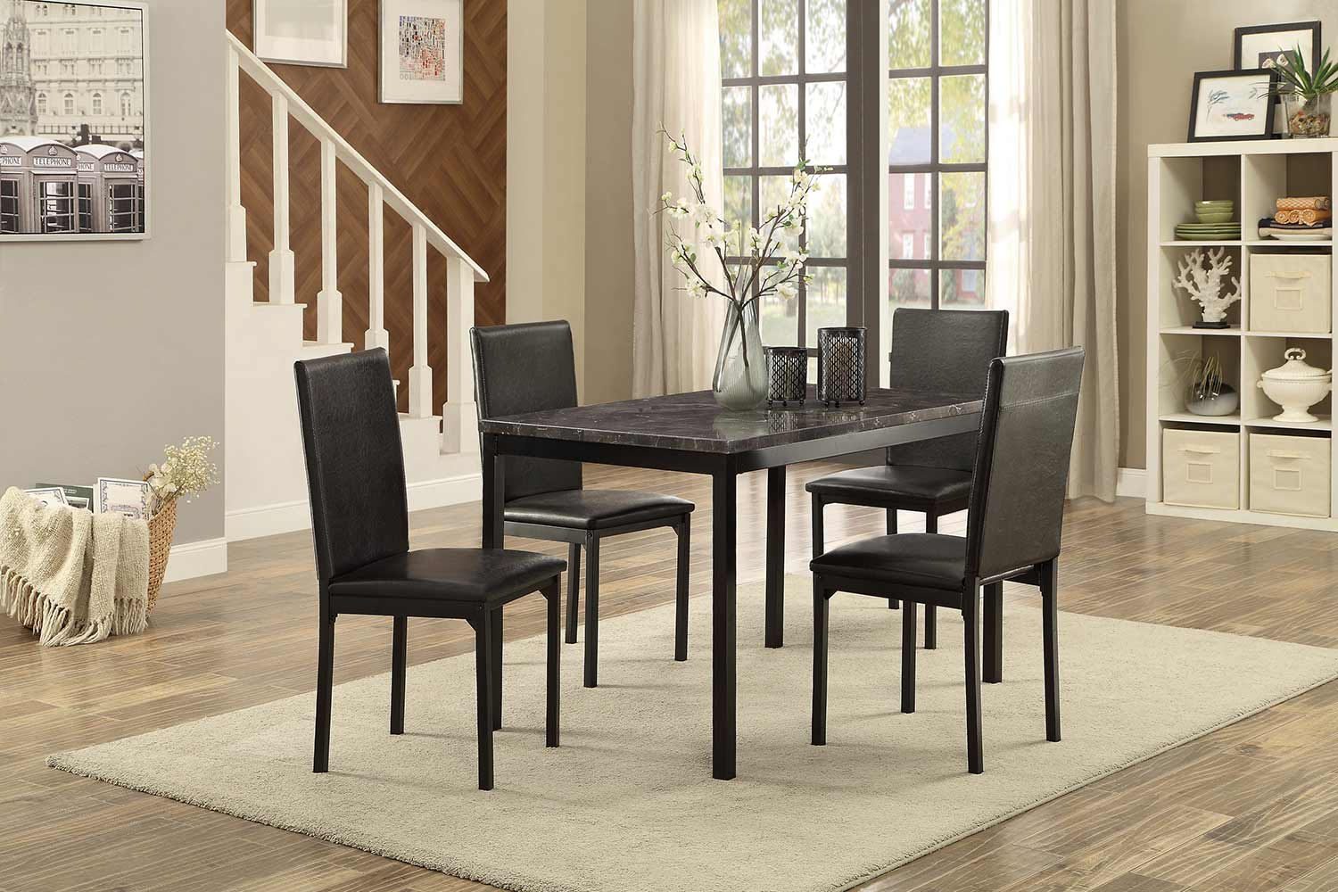 Homelegance Tempe Dining Set - Faux Marble Top