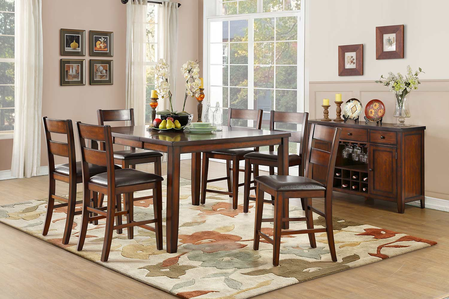Homelegance Mantello Counter Height Dining Set - Cherry