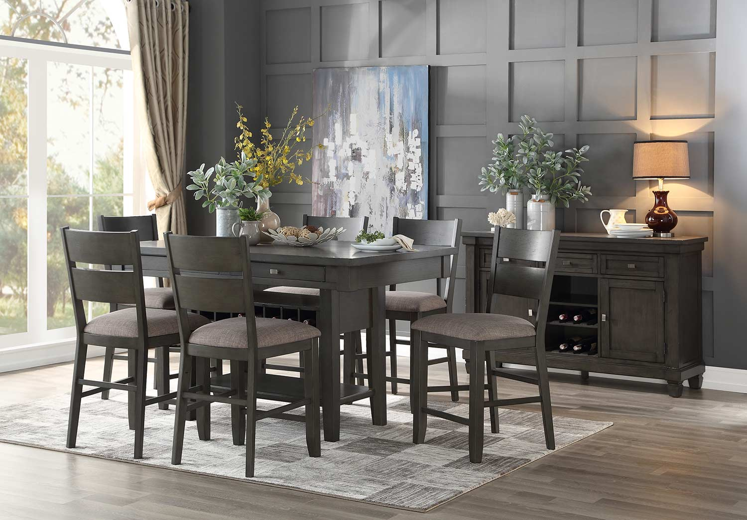 Homelegance Baresford Counter Height Dining Set - Gray