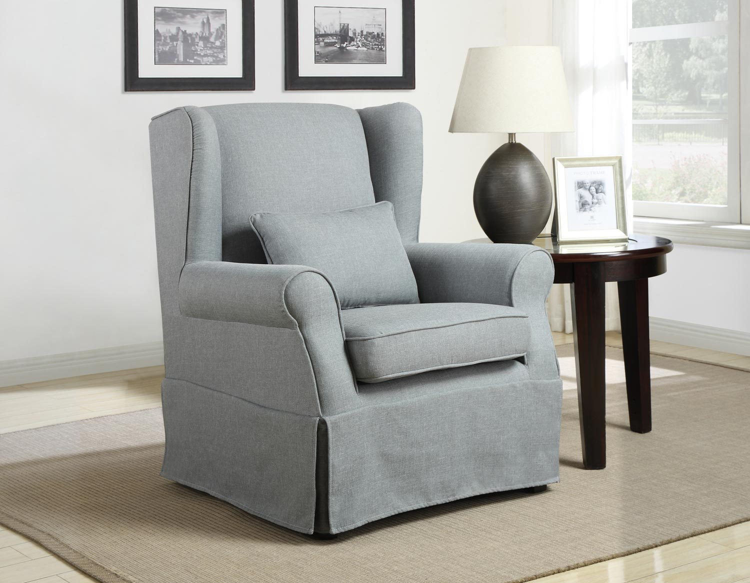 Homelegance Alden Accent Chair with 1 Kidney Pillow - Grey