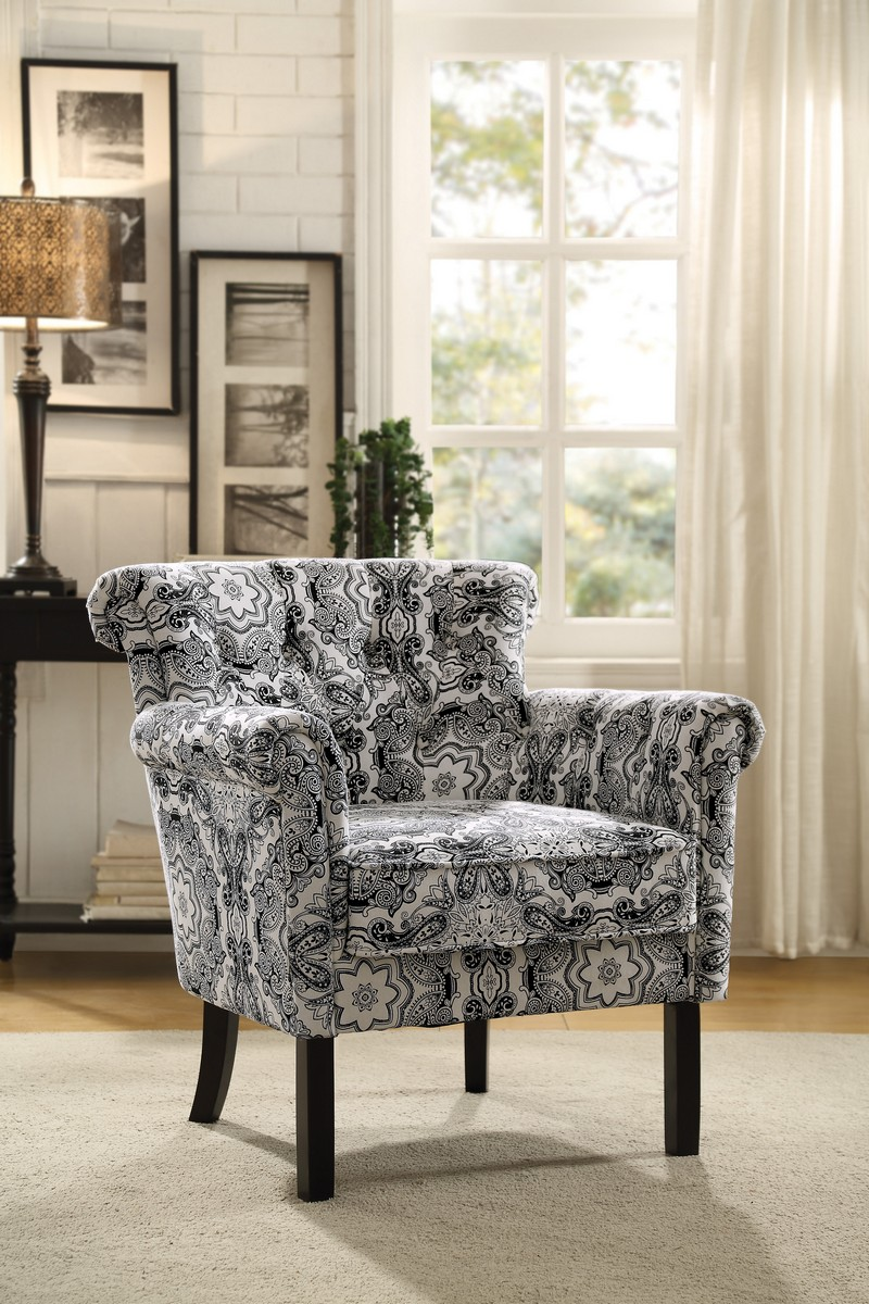 Homelegance Barlowe Accent Chair - Black Paisley Print