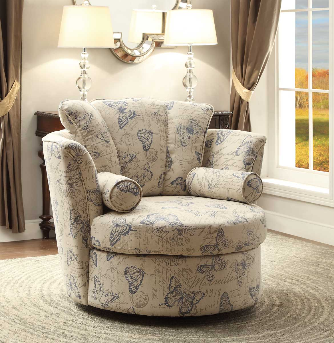 homelegance aurelia swivel accent chair with 2 pillows butterfly print