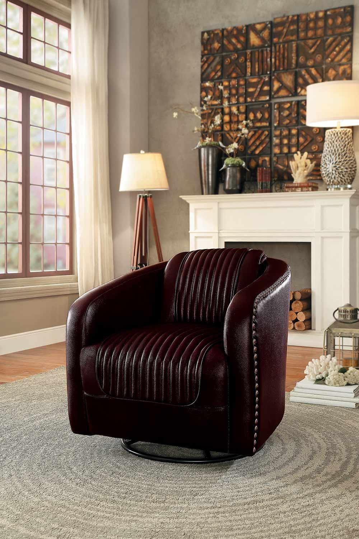 Homelegance Moderne Swivel Chair - Dark Brown Bi-Cast Vinyl