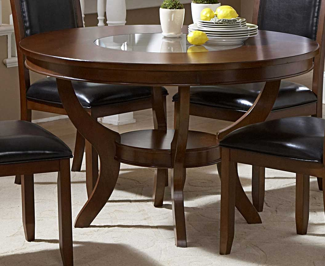 Homelegance Avalon Round Dining Table with Glass Insert & Homelegance Avalon Round Dining Table with Glass Insert 1205-48 ...