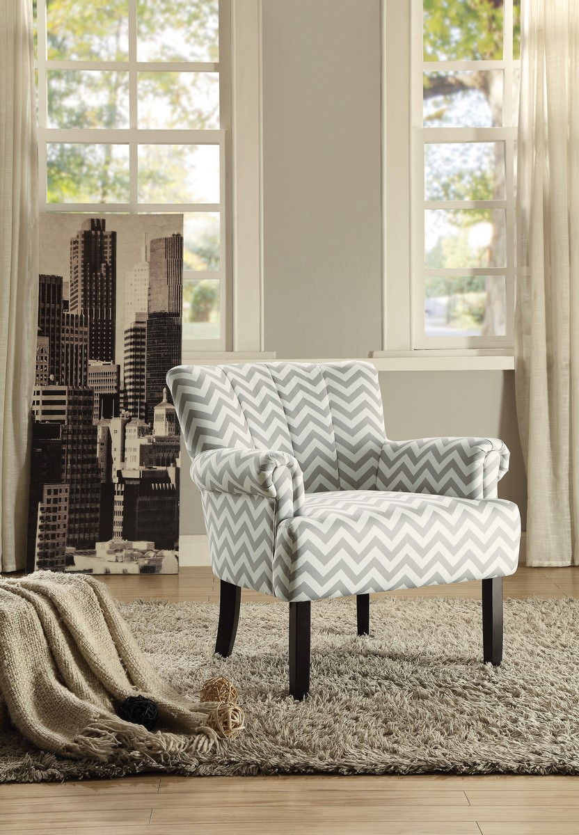 Homelegance Langdale Accent Chair   Grey Chevron