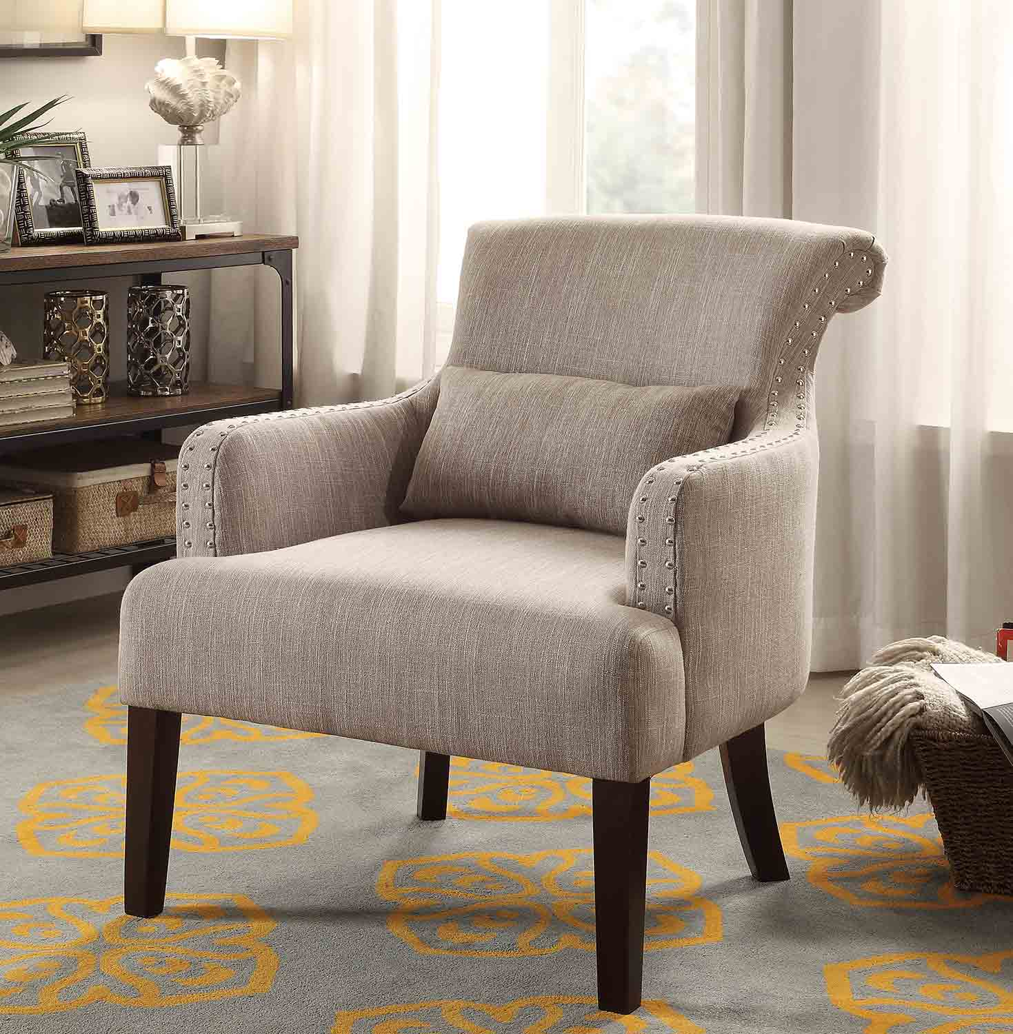 Homelegance Reedley Accent Chair with 1 Kidney Pillow - Light Brown