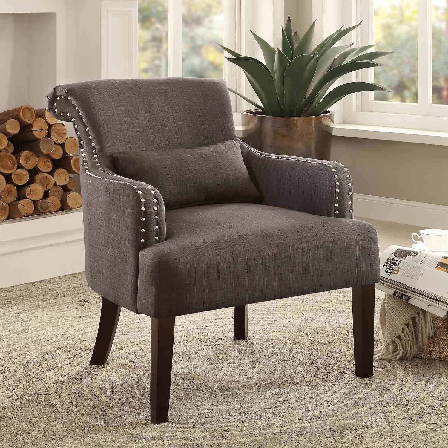 Homelegance Reedley Accent Chair with 1 Kidney Pillow - Chocolate