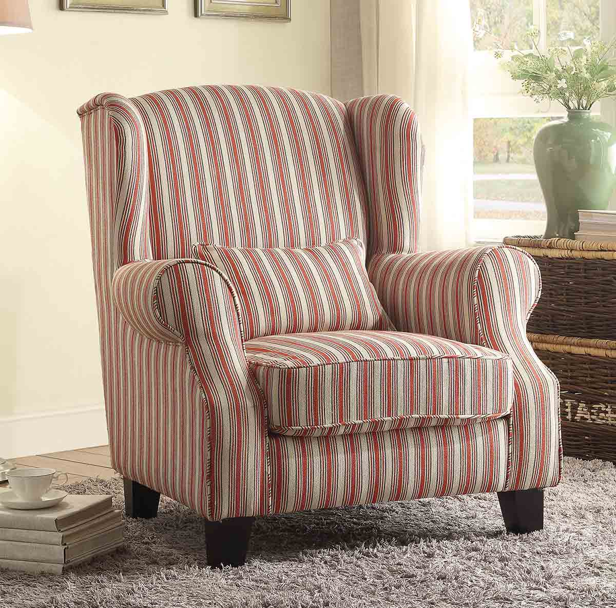 homelegance la verne accent chair with 1 kidney pillow redcream