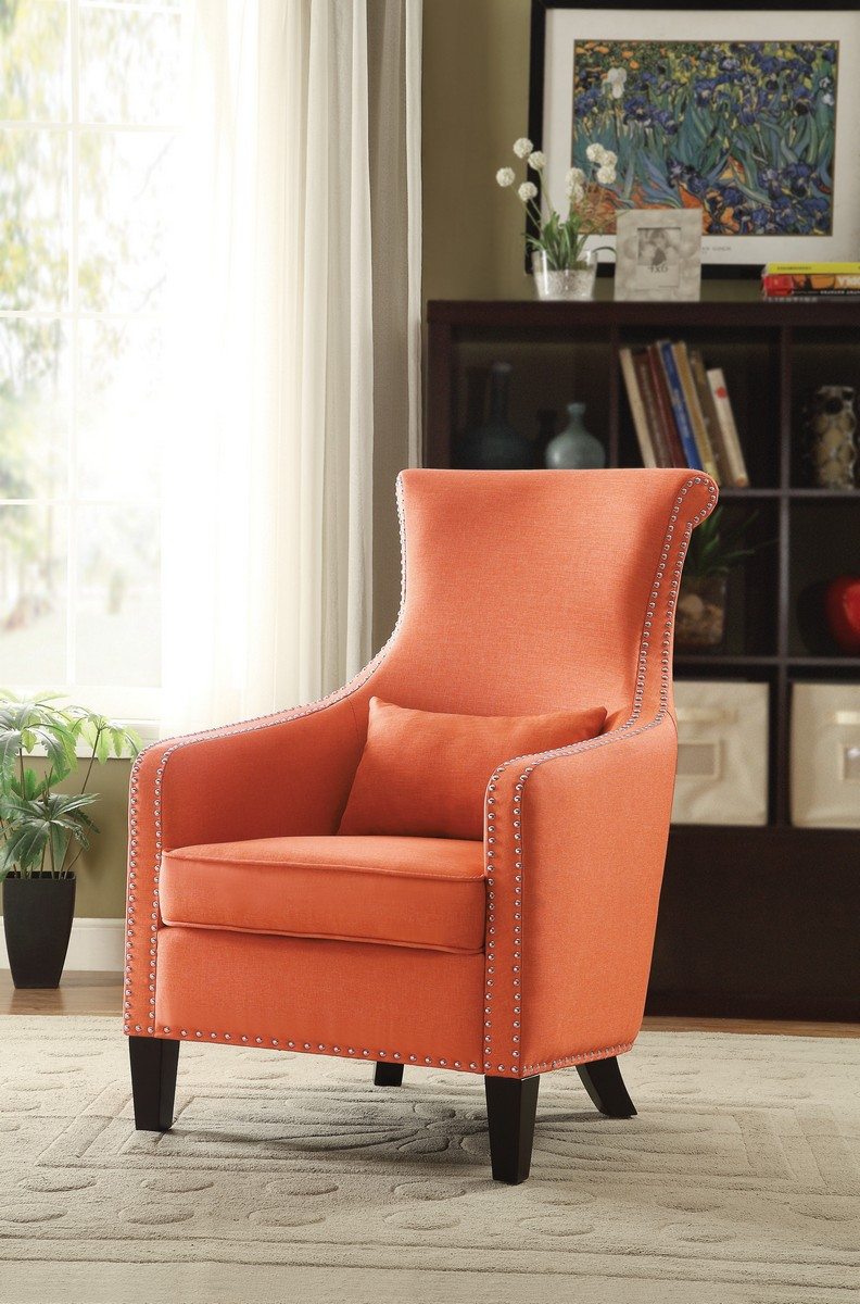homelegance arles accent chair with 1 kidney pillow orange