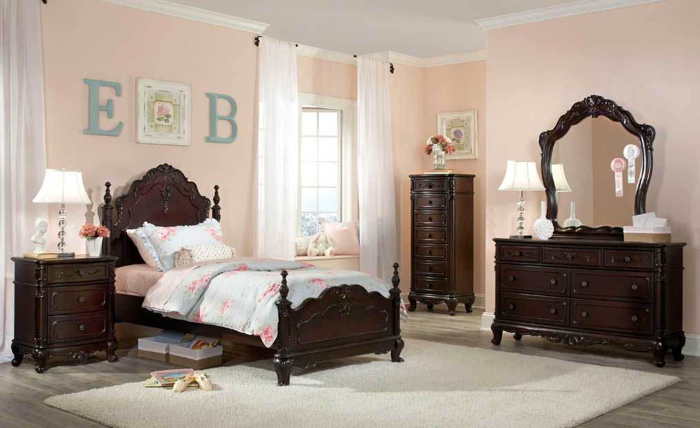 Homelegance Cinderella Bedroom Set   Dark Cherry