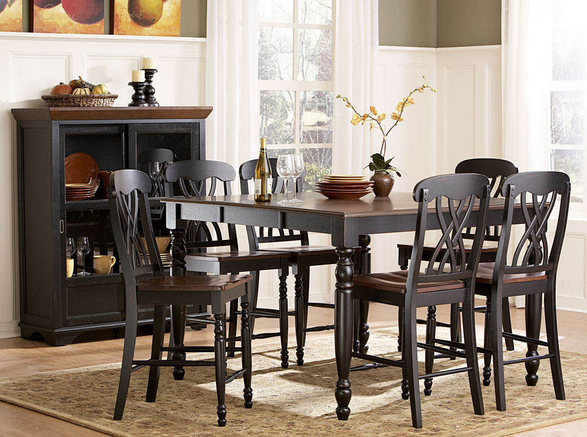 Homelegance ohana counter height dining set black for Counter height dining set