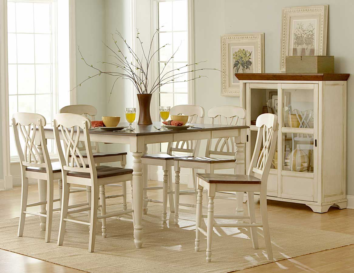 Homelegance ohana counter height dining set white d1393w for White dining room table set