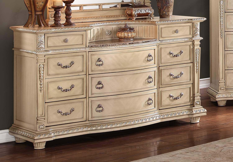white marble dresser