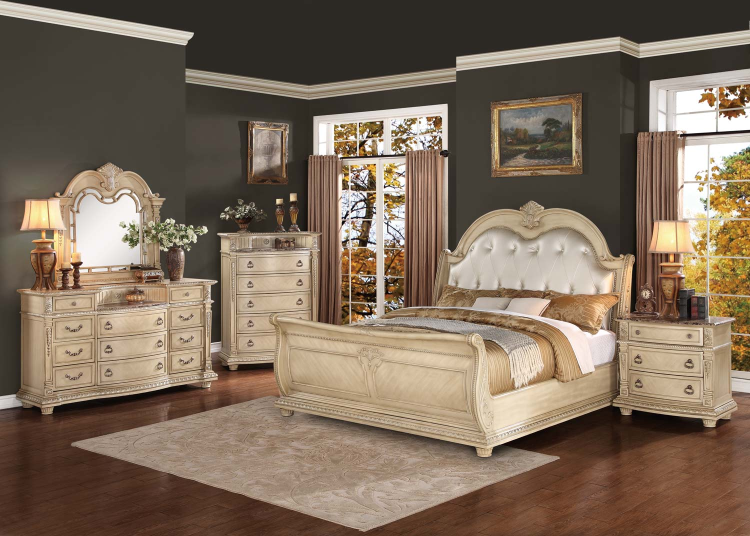 Homelegance palace ii upholstered bedroom set antique Bedrooms furniture