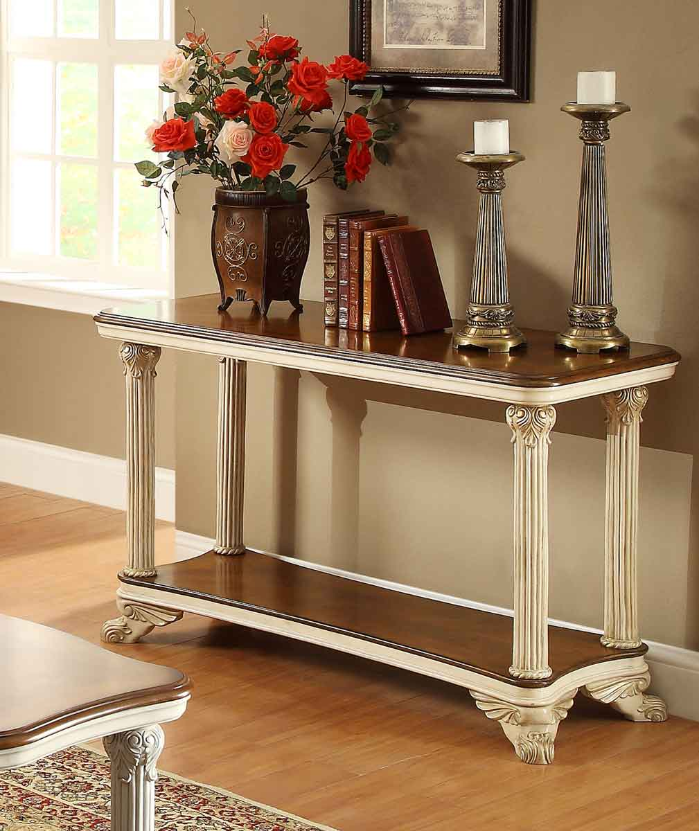 antique white sofa table Homelegance Casanova II Sofa Table   Antique White 1589NF 05  antique white sofa table