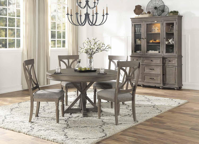 Homelegance Cardano Round Dining Set - Driftwood Light Brown