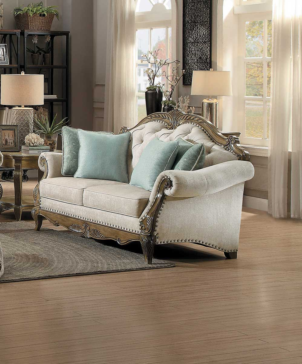 Homelegance Moorewood Park Love Seat - Natural Tone Fabric