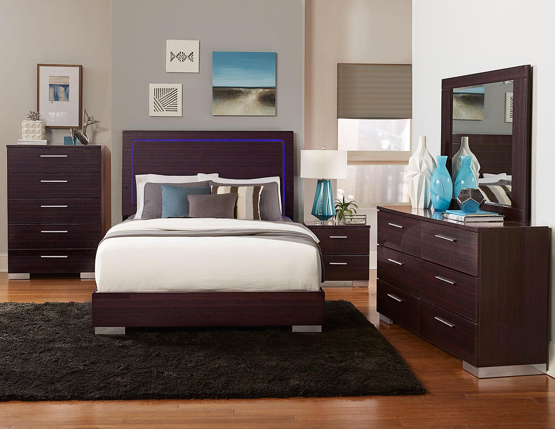 Homelegance Moritz Bedroom Set - LED Lighting - High Gloss