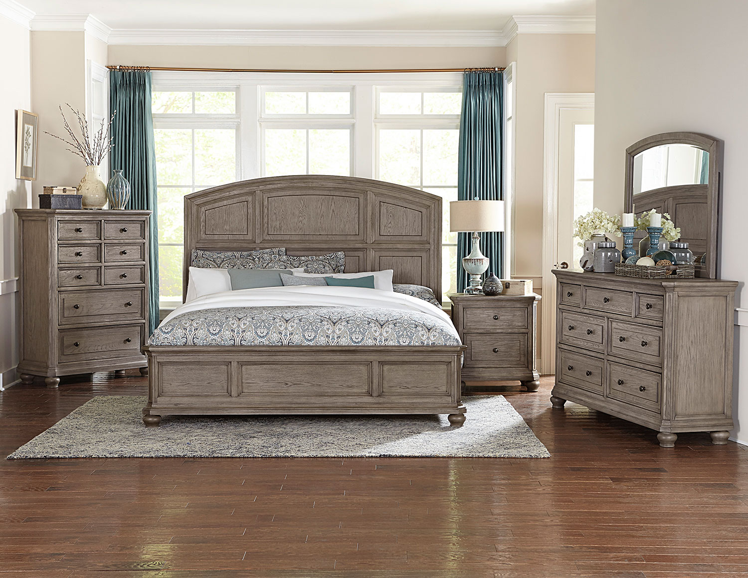 Homelegance Lavonia Low Profile Bedroom Set - Wire-brushed Gray