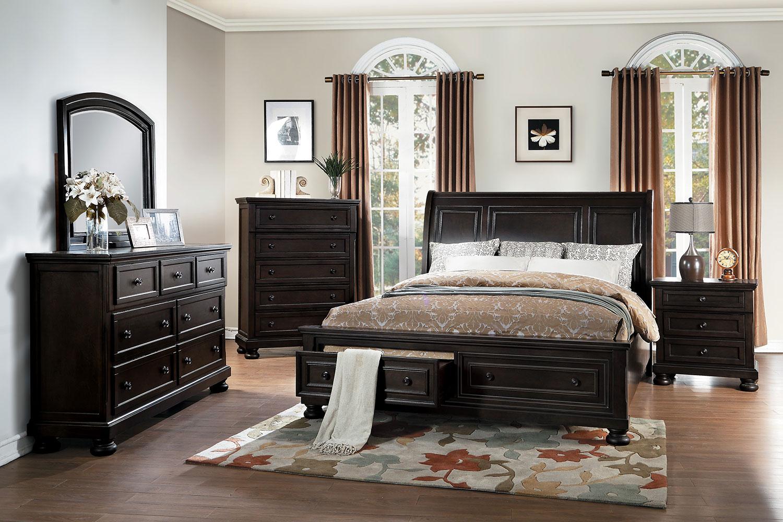 Homelegance Begonia Sleigh Platform Storage Bedroom Set
