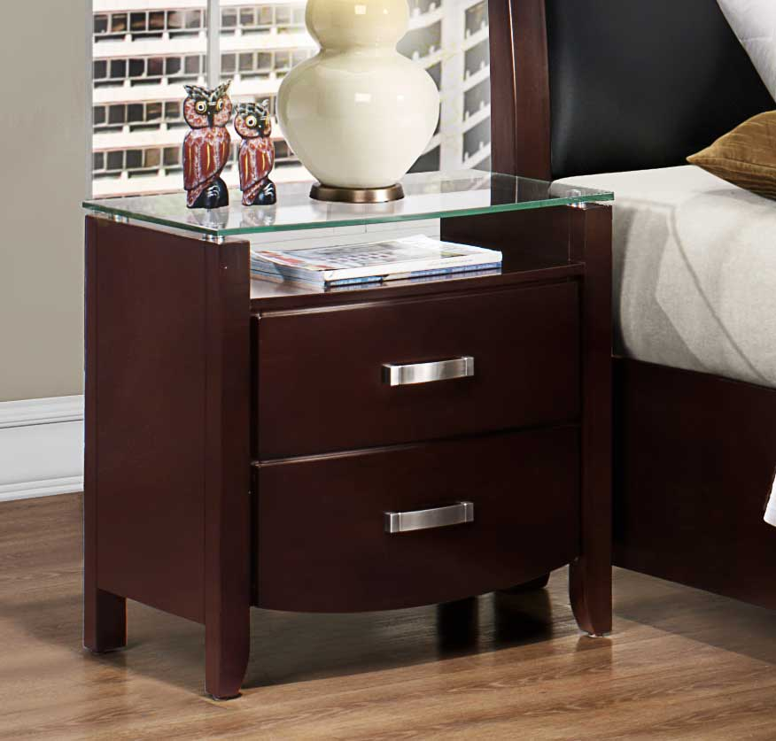 Homelegance Lyric Night Stand - Glass Top - Dark Espresso