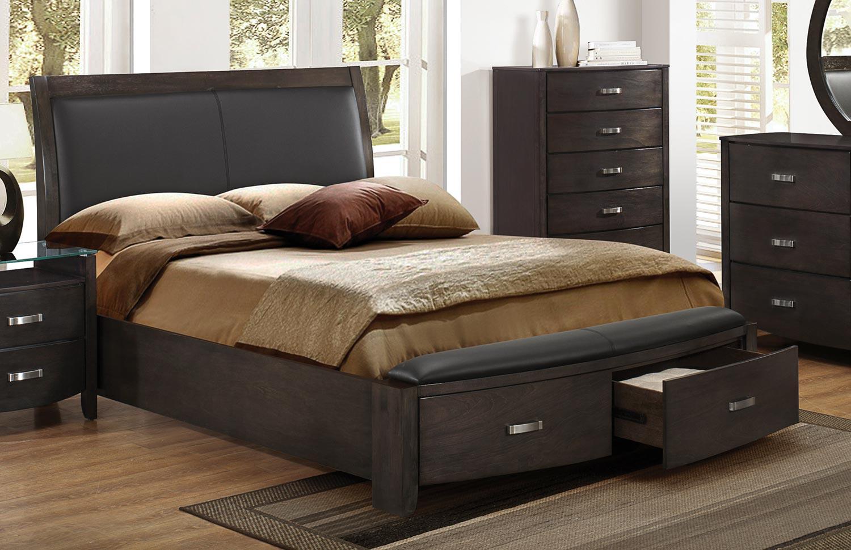 Homelegance Lyric Upholstered Sleigh Platform Storage Bed - Brownish Grey