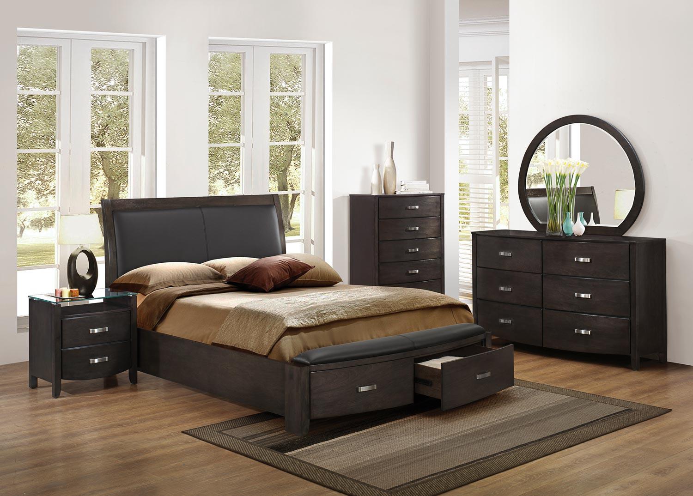 Homelegance Lyric Upholstered Sleigh Platform Storage Bedroom Set - Brownish Grey