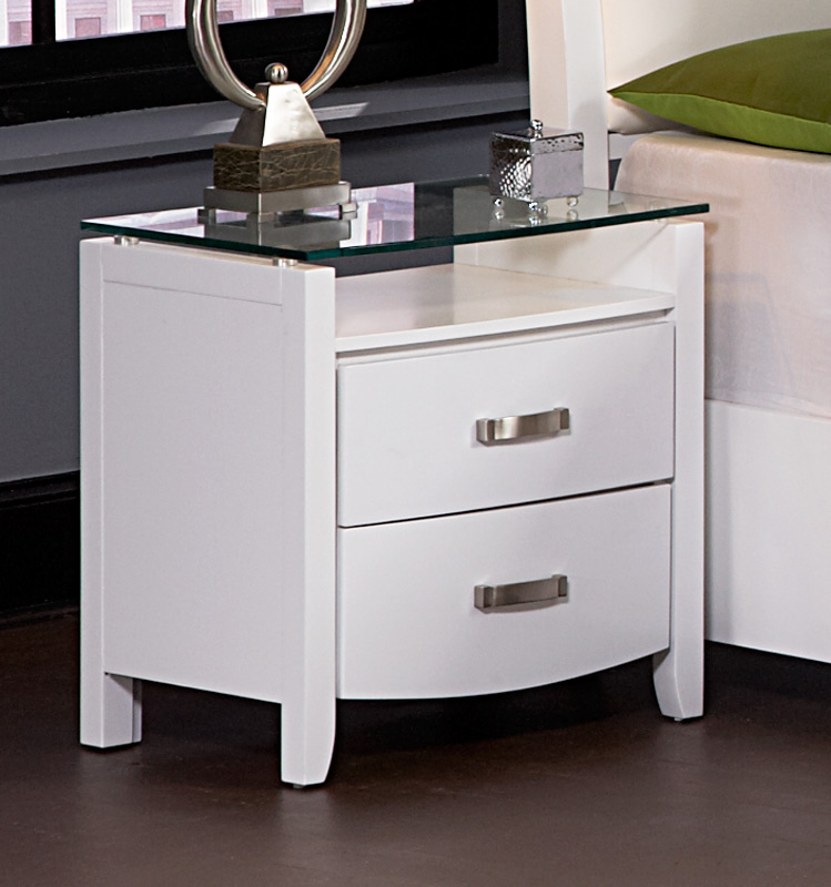 Homelegance Lyric Night Stand with Tempered Glass Top