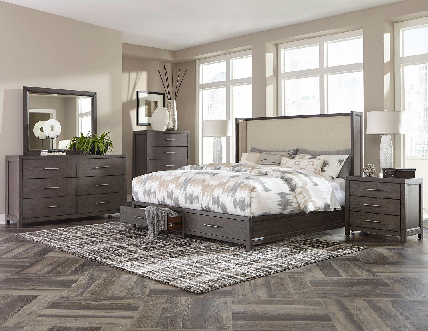 Homelegance Fondren Platform Storage Bedroom Set - Dark Gray/Brown