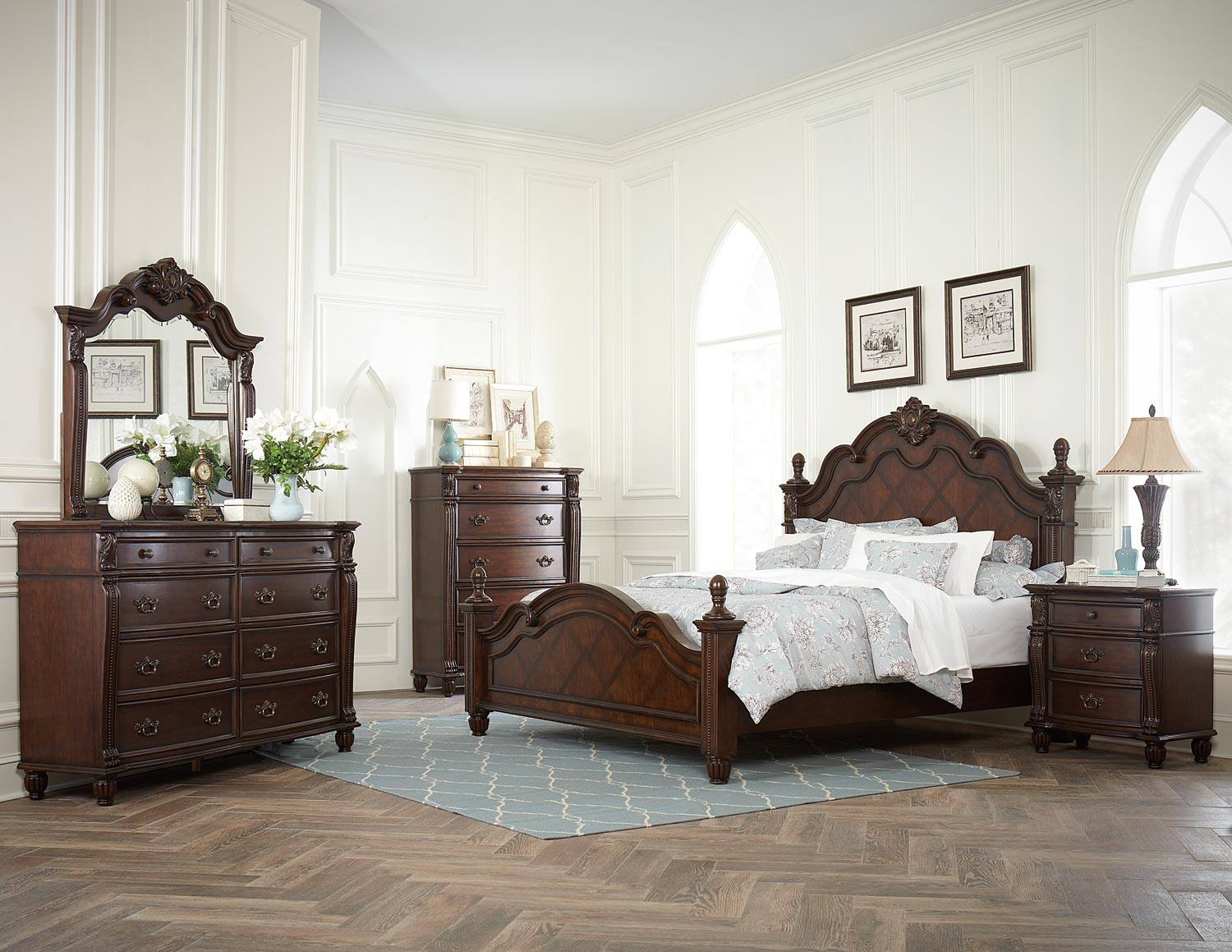 homelegance hadley row bedroom set cherry 1802 bed set
