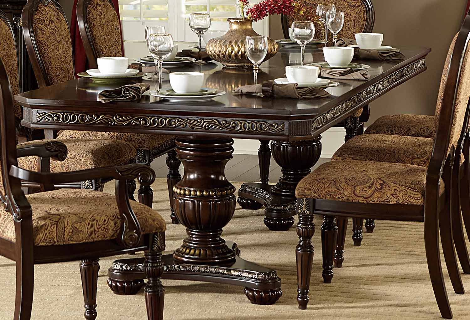 Homelegance Russian Hill Double Pedestal Dining Set - Cherry 1808 ...