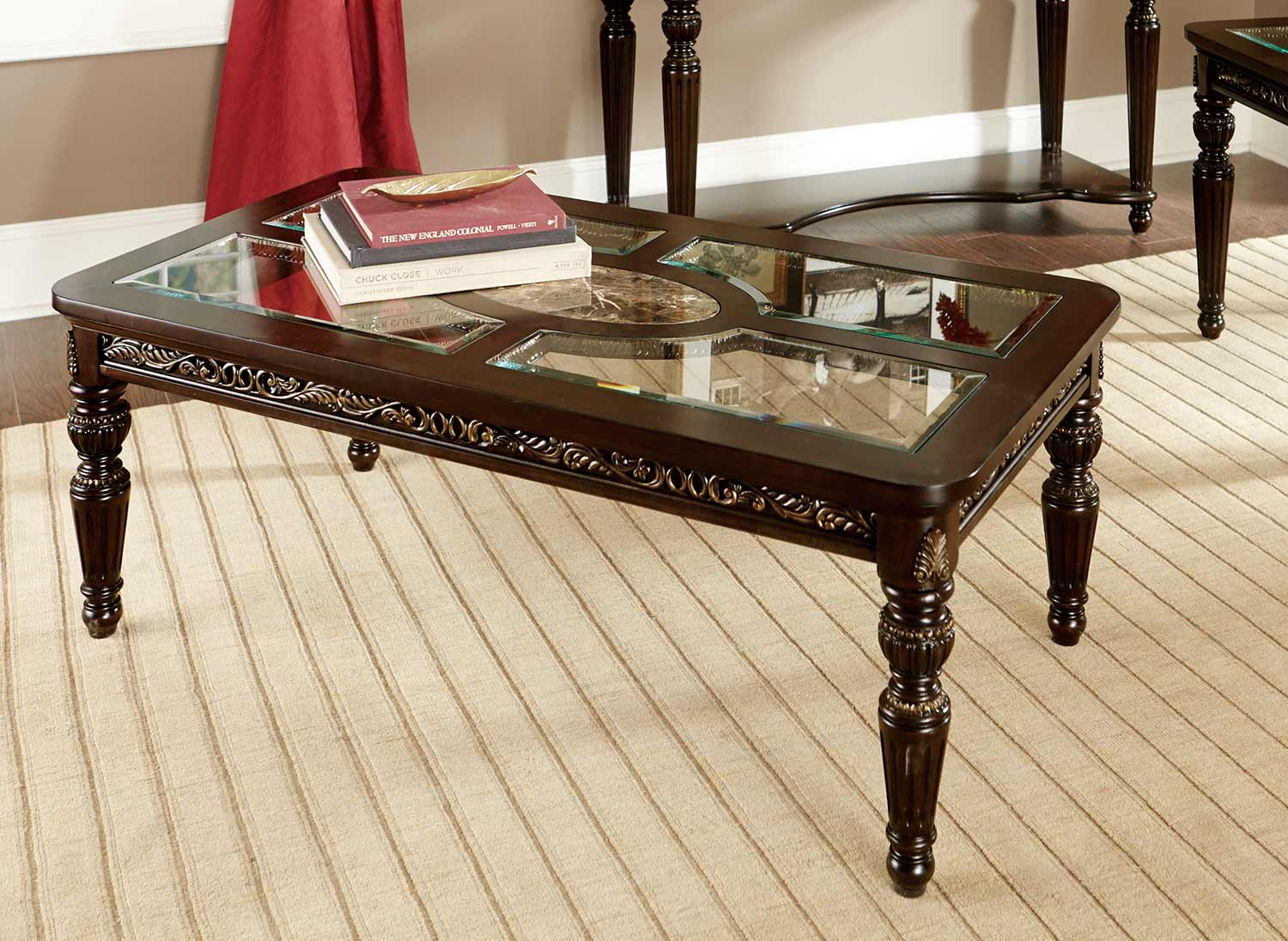 Homelegance russian hill cocktail coffee table cherry for Glass inlay coffee table