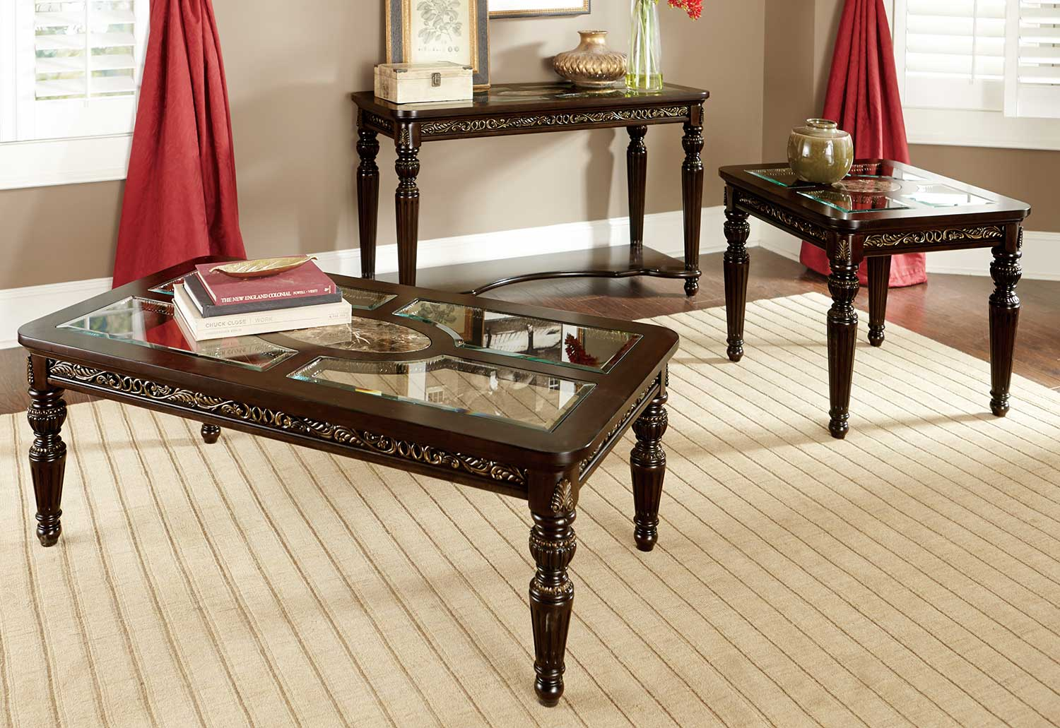 Charming Homelegance Russian Hill Coffee Table Set   Cherry With Glass Insert And  Faux Marble Inlay