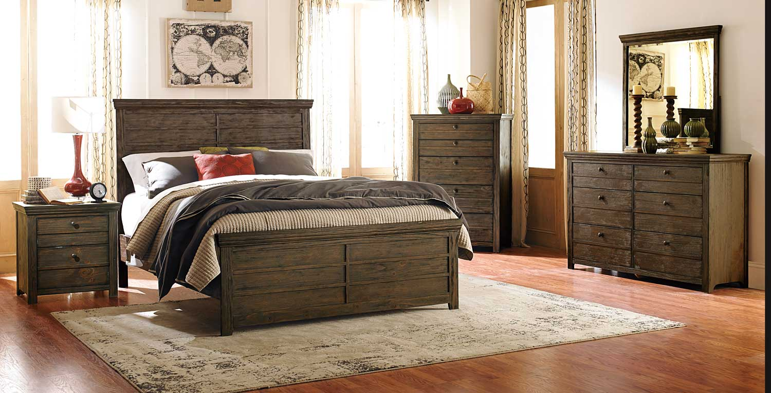 Homelegance Hardwin Bedroom Set Weathered Grey Rustic Brown
