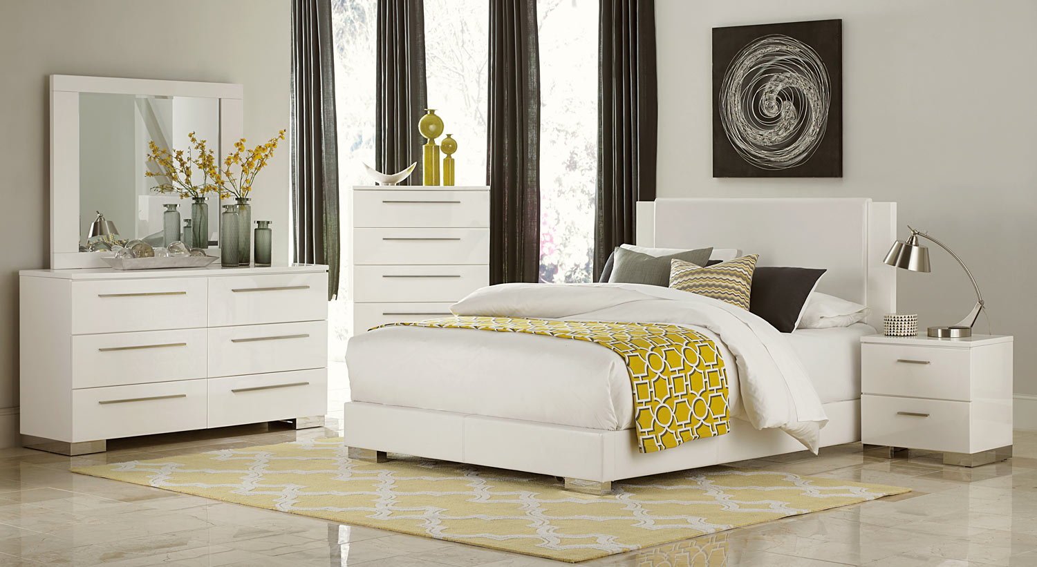 Homelegance Linnea Bedroom Set   High Gloss White